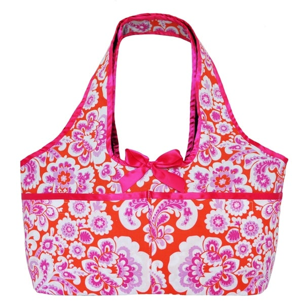 AnnLoren Pink/Orange/White Cotton Paisley Doll Tote for Two American Girl Dolls