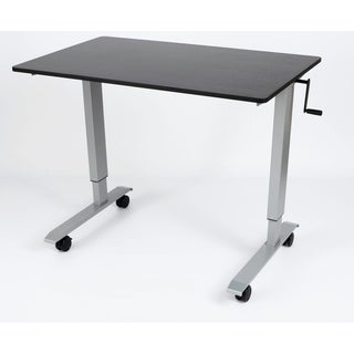 Luxor STANDCF48-AG/BO Black Oak-top Steel and Laminate Crank-adjustable Stand-up Desk