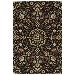 "Hand-Tufted Perry Medallion Black Wool Rug (5'0 x 7'9"")"