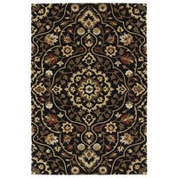 Hand-Tufted Perry Medallion Black Wool Rug - 5' x 7'9