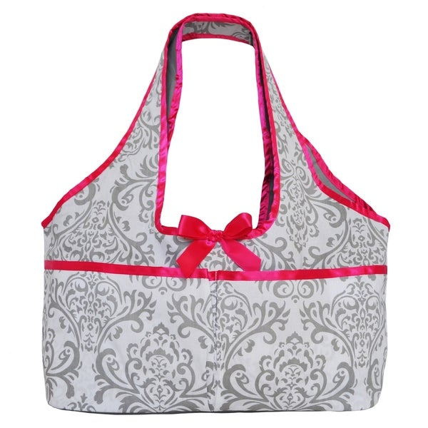 AnnLoren Gray Damask With Pink Trim Doll Tote