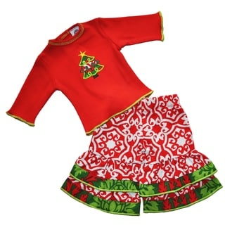 AnnLoren Red Damask Christmas Tree 18-inch Doll Outfit