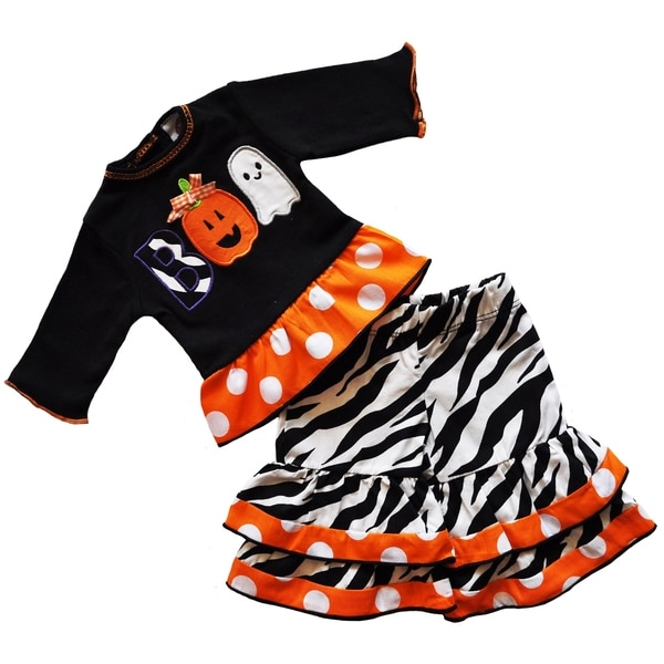 AnnLoren Black and Orange Halloween Doll Outfit