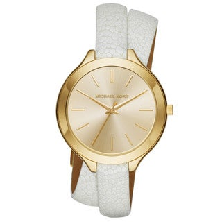 Michael Kors Women's Runway MK2477 Goldtone Stainless Steel/Leather Slim Watch