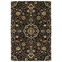 Hand-Tufted Perry Medallion Black Wool Rug (8' x 10')