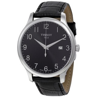 Tissot Men's 'Tradition' Black Leather Swiss Quartz Watch