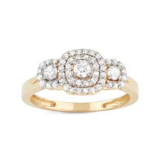 Gioelli 10k Yellow Gold 1/2ct TDW Diamond Three-stone Cluster Engagement Ring (H-I, I1-I2)