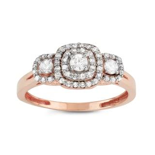 Gioelli 10k Rose Gold 1/2ct TDW Diamond Three-stone Cluster Engagement Ring (H-I, I1-I2)