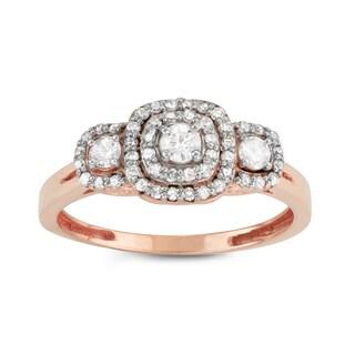 Gioelli 10k Rose Gold 1/2ct TDW Diamond Three-stone Cluster Engagement Ring