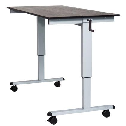 Shop Luxor Black Grey Laminate Steel Crank Adjustable Stand Up Desk