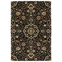 Hand-Tufted Perry Medallion Black Wool Rug - 9' x 12'