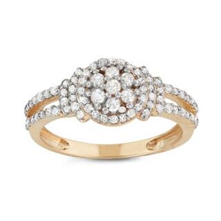 Gioelli 10k Yellow Gold 1/2ct TDW Diamond Cluster Engagement Ring (H-I, I1-I2)