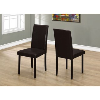 Monarch Dark Brown Leather-look 36-inch-high Dining Chair Set