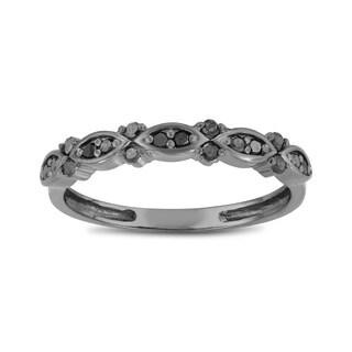 Gioelli 10k Black Gold 1/5ct TDW Black Diamond Eternity Band Ring