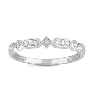 Gioelli 10k White Gold 1/6ct TDW Diamond Eternity Band Ring (H-I, I1-I2)