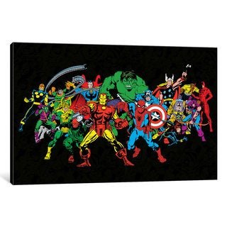 iCanvas Marvel Comics (Retro) - Character Line-Up by Marvel Comics Canvas Print