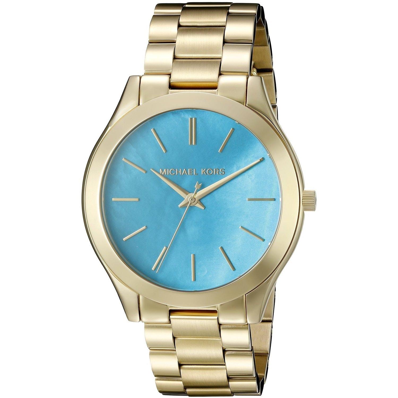 Michael Kors Womens MK3492 Slim Runway Blue Mother of Pearl Dial Watch Stainless Steel Case, Stainless Steel Bracelet