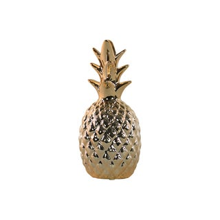 Urban Trends Collection Gold Polished Chrome Ceramic Pineapple Figurine