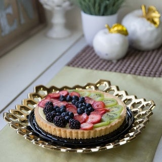UTC35305: Ceramic Hexagon Concave Tray with Perforated Design Polished Chrome Finish Gold