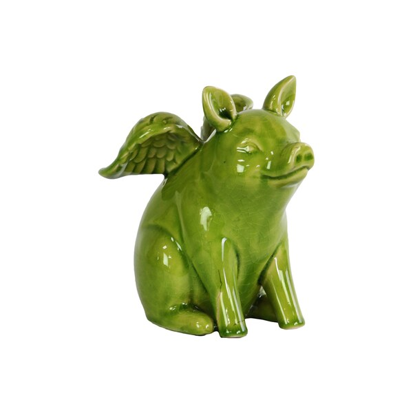 Urban Trends Collection Gloss Apple Green Ceramic Sitting Winged Pig Figurine