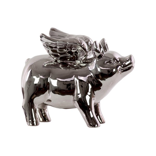 Urban Trends Collection Polished Chrome Ceramic Standing Winged Pig Figurine