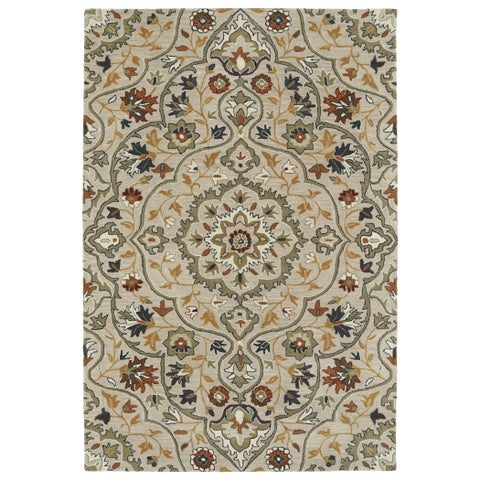 Hand-Tufted Perry Medallion Mushroom Wool Rug - 8' x 10'