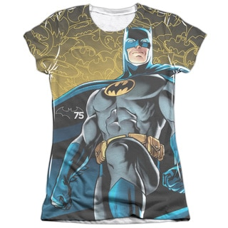 Batman/75 Glow (Front/Back Print) Short Sleeve Junior Poly/Cotton Crew in White