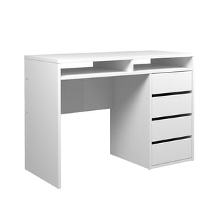 Tvilum Whitman Plus White MDF 4-drawer and 2-shelf Desk