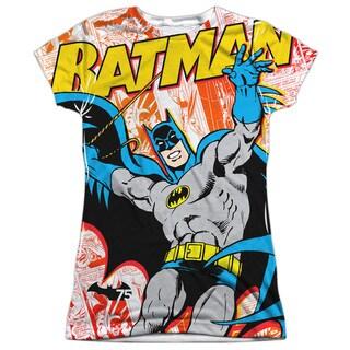 Batman/75 Panels (Front/Back Print) Short Sleeve Junior Poly Crew in White
