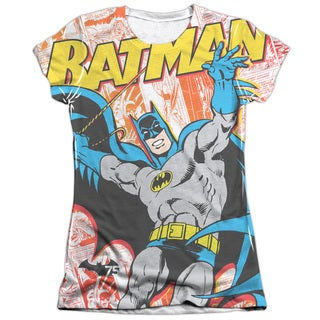 Batman/75 Panels (Front/Back Print) Short Sleeve Junior Poly/Cotton Crew in White