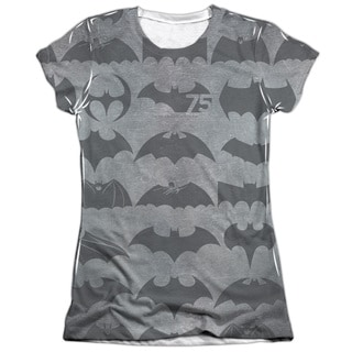 Batman/75 Symbols (Front/Back Print) Short Sleeve Junior Poly/Cotton Crew in White