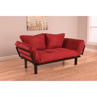 Somette Eli Red Fabric Daybed Lounger With Suede Mattress