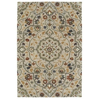 Hand-Tufted Perry Medallion Mushroom Wool Rug (9'0 x 12'0)