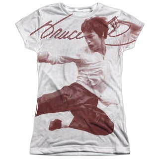 Bruce Lee/Expectations Short Sleeve Junior Poly Crew in White