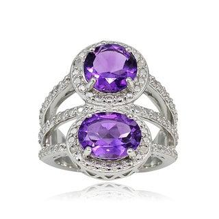 Glitzy Rocks Sterling Silver Gemstone and Diamond Two Stone Friendship Ring