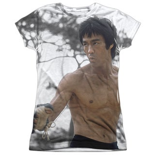 Bruce Lee/Battle Ready (Front/Back Print) Short Sleeve Junior Poly Crew in White