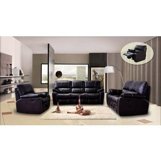 Silverado Three-piece Dark Brown Leather Fabric Reclining Sofa Set