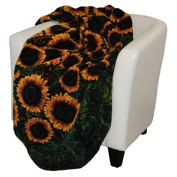 Denali Sunflowers/ Merlot Throw Blanket