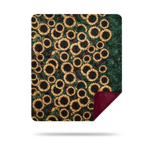 Denali Sunflowers/Merlot Blanket - 60x50