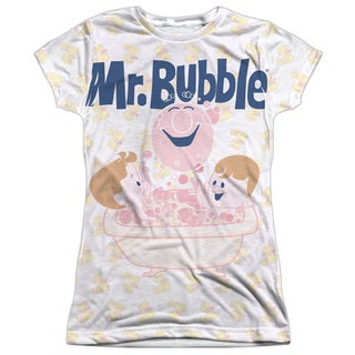 Mr Bubble/Bath Buds (Front/Back Print) Short Sleeve Junior 100-percent Poly Crew in White