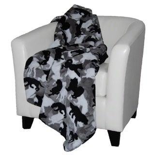 Denali Theme-o-flage Dogs/ Black Throw Blanket