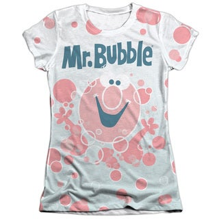 Mr Bubble/Bubbles Everywhere Short Sleeve Junior Poly/Cotton Crew in White