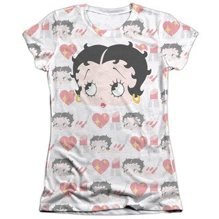 Betty Boop/Symbol Sub Short Sleeve Junior 65/35 Poly/Cotton Crew in White