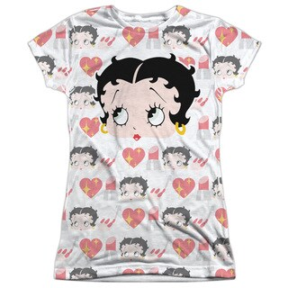 Betty Boop/Symbol Sub Short Sleeve Junior 100-percent Poly Crew in White