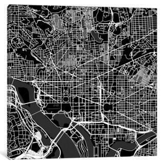 iCanvas Washington D.C. Urban Roadway Map (Black) by Urbanmap Canvas Print