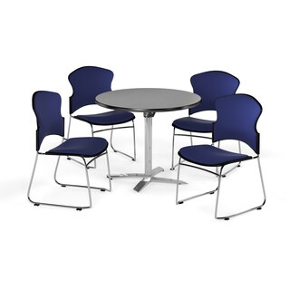 OFM 42-inch X-style Base Round Multi Purpose Table with 4 chairs
