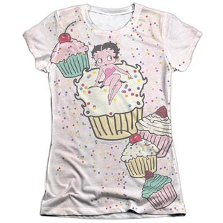 Betty Boop/Cake Boop Short Sleeve Junior 65/35 Poly/Cotton Crew in White