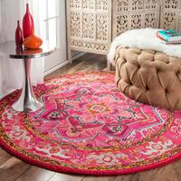 The Curated Nomad Marcela Flower Medallion Pink Area Rug - 5'3 Round