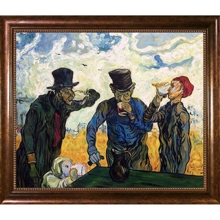 Vincent Van Gogh 'The Drinkers (After Daumier), 1890' Hand Painted Framed Canvas Art