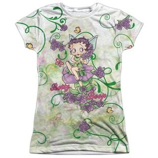 Betty Boop/Flower Fairy Short Sleeve Junior 100-percent Poly Crew in White